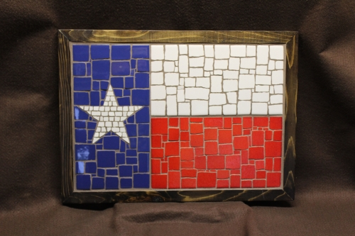 Red White and Blue Texas flag mosaic handcrafted wooden frame