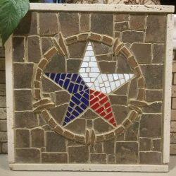 Ceramic tile handcrafted mosaic of the Teaxas star.